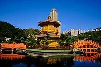 Chine, Hong Kong, Kowloon, jardin de Nan Lian et nonnerie de Chi Lin // China, Hong Kong, Kowloon, The pagoda at the Chi Lin Nunnery and Nan Lian Garden