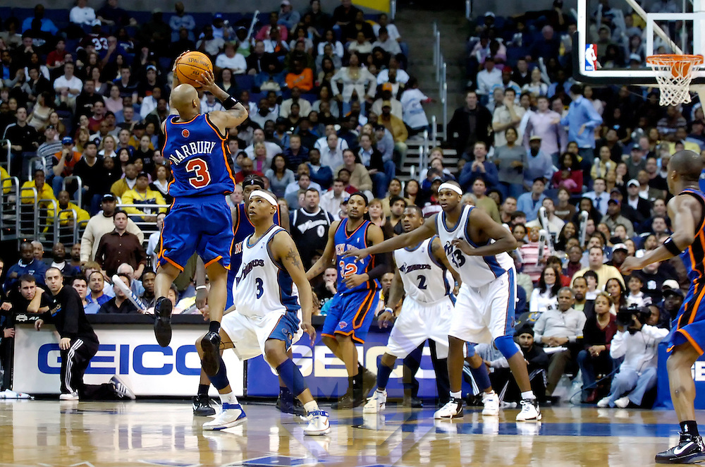 10 March 2007:   New York Knicks guard Stephon Marbury (3) takes a three point shot with less than 20 seconds remaining against Washington Wizards forward Caron Butler (3) at the Verizon Center in Washington, D.C.  Marbury's shot missed but the Knicks defeated the Wizards on a last second 3-point shot by guard Steve Francis 90-89.