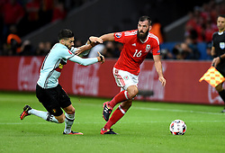 Joe Ledley of Wales battles for the ball with Yannick Ferreira Carrasco of Belgium  - Mandatory by-line: Joe Meredith/JMP - 01/07/2016 - FOOTBALL - Stade Pierre Mauroy - Lille, France - Wales v Belgium - UEFA European Championship quarter final