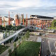 Parco Dora, Torino.  la suggestiva struttura del capannone dello strippaggio  dell'ex  stabilimento Teksid,