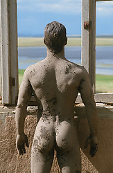 back of a nude man covered in mud facing a lake through a window