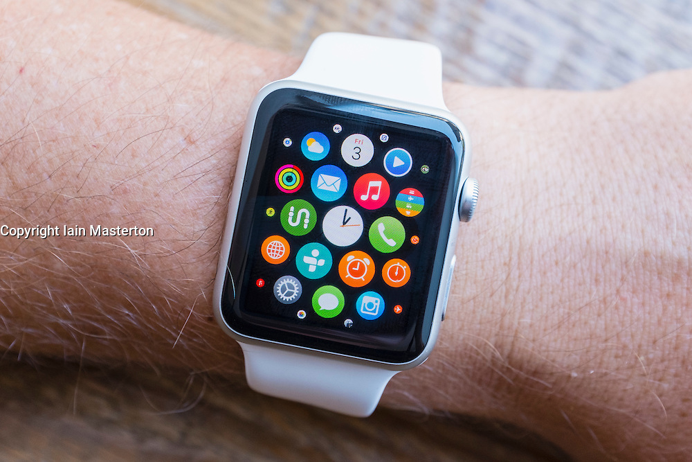 Detail of many apps on screen of an Apple Watch
