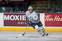 KELOWNA, CANADA - DECEMBER 7: Sami Moilanen #18 of the Seattle Thunderbirds warms up with the puck against the Kelowna Rockets on December 7, 2016 at Prospera Place in Kelowna, British Columbia, Canada.  (Photo by Marissa Baecker/Shoot the Breeze)  *** Local Caption ***