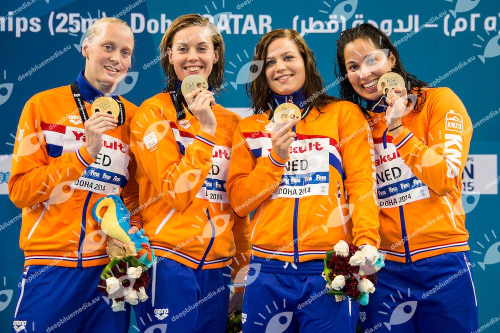 Netherlands Gold Medal WR<br /> USA Silver Medal<br /> Denmark Bronze Medal<br /> Women's 4x50m Freestyle Final<br /> Doha Qatar 07-12-2014 Hamad Aquatic Centre, 12th FINA World Swimming Championships (25m). Nuoto Campionati mondiali di nuoto in vasca corta.<br /> Photo Giorgio Scala/Deepbluemedia/Insidefoto