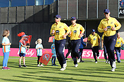 Ian Bell of the Birmingham Bears on the left during the Vitality T20 Blast North Group match between Lancashire Lightning and Birmingham Bears at the Emirates, Old Trafford, Manchester, United Kingdom on 10 August 2018.