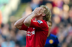 15-10-2011-2010 VOETBAL: LIVERPOOL - MANCHESTER UNITED: LIVERPOOL<br /> Dirk Kuyt looks dejected during the Premiership match against Manchester United at Anfield <br /> +++ OUT OF ENGLAND +++<br /> ©2011-FRH-nph / D. Rawcliffe
