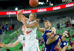 Sasu Antreas Salin of Union Olimpija and Tomislav Zubcic of Cibona during basketball match between KK Union Olimpija Ljubljana and KK Cibona Zagreb (CRO) in 11th Round of ABA League 2012/13 on December 2, 2012 in Arena Stozice, Ljubljana, Slovenia. Union Olimpija defeated Cibona 87-82. (Photo By Vid Ponikvar / Sportida)