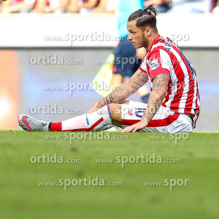 02.08.2015, Rhein Energie Stadion, Koeln, GER, Testspiel, Stoke City vs FC Porto, im Bild Marko Arnautovic (Stoke City FC #10) am Boden // during the International Friendly Football Match between Stoke City and FC Porto at the Rhein Energie Stadion in Koeln, Germany on 2015/08/02. EXPA Pictures &copy; 2015, PhotoCredit: EXPA/ Eibner-Pressefoto/ Schueler<br /> <br /> *****ATTENTION - OUT of GER*****