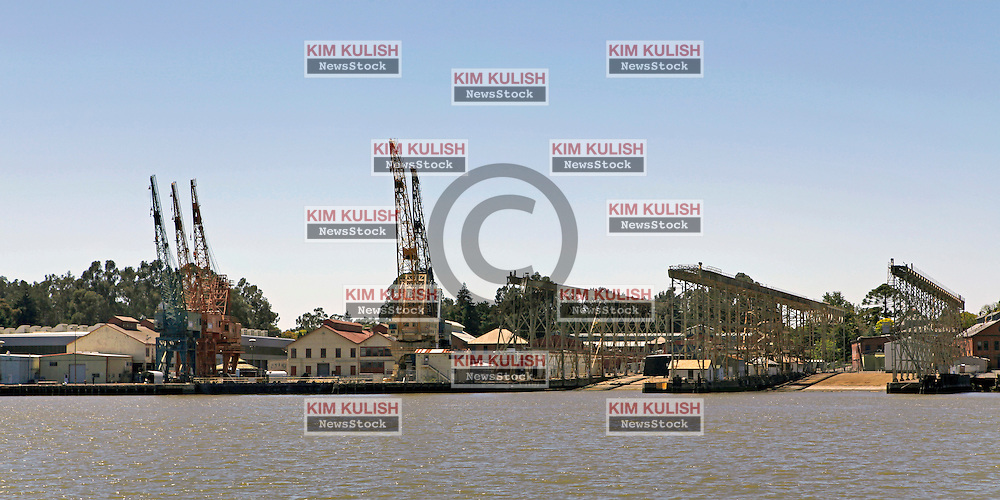 View of the historic Mare Island dry docks along the Vallejo waterfront sit idle following the closure of the navel base in 1996.  Plans for developing the property are moving slowly.  The city of Vallejo, California filed for bankruptcy protection in 2008 in attempt to deal with a ballooning budget deficit caused by soaring employee costs and declining tax revenue.