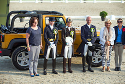 Podium Grand prix<br /> 1 Julie De Deken<br /> 2 Laurence Van Ommeslagen<br /> 3 Jeroen Devroe<br /> Belgisch Kampioenschap dressuur <br /> Hulsterlo - Meerdonk  2014<br /> © Dirk Caremans
