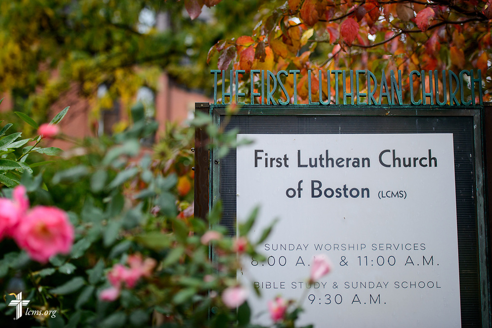 The exterior sign at First Lutheran Church, Boston, on Wednesday, Oct. 25, 2017, in Boston. LCMS Communications/Erik M. Lunsford