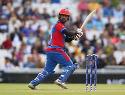 Afghanistan's Noor Ali Zadran during the ICC Cricket World Cup Warm up match at The Oval, London.