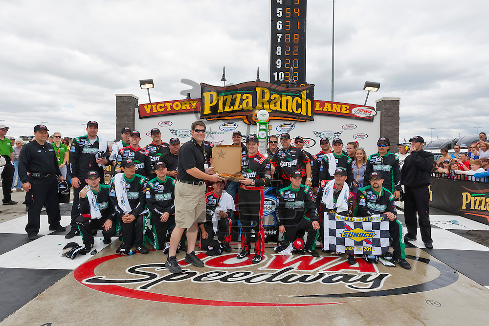 NEWTON, IA - MAY 20, 2012:  Ricky Stenhouse, Jr. (6) holds off the rest of the field to win the Pioneer Hi-Bred 250 at the Iowa Speedway in Newton, IA.