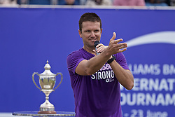 LIVERPOOL, ENGLAND - Sunday, June 23, 2019: Runner-up Robert Kendrick (USA) speaks to the spectators after the Men's Final on Day Four of the Liverpool International Tennis Tournament 2019 at the Liverpool Cricket Club. <br /> Lorenzi won 7-6 (3), 6-2. (Pic by David Rawcliffe/Propaganda)