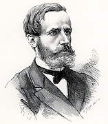 (Raymond) Gaston Plante (1834-1889) French physicist who in 1859 invented the first accumulator or electric storage battery.  It was a wet cell with two lead plates immersed in sulphuric acid, the electrolyte. Engraving from 'Les Nouvelles Conquetes de la Science' by Louis Figuier (Paris, 1883).