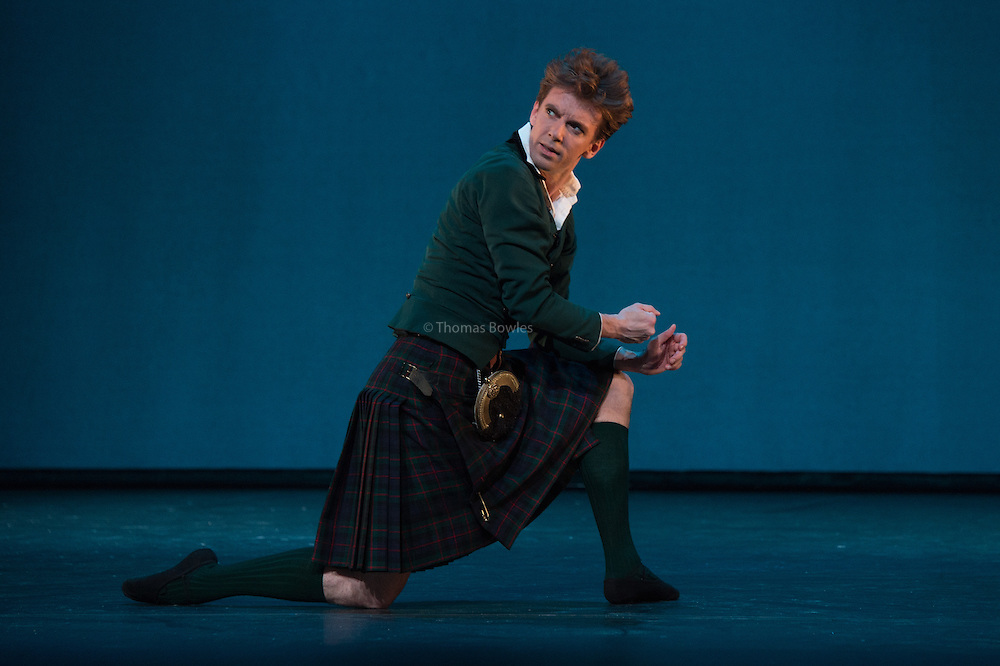 London, UK. 9th January 2015. The Royal Danish Ballet Soloists and Principals perform  works by the 19th century Choreographer and ballet master August Bournonville. <br /> Ulrik Birkkjaer as James.