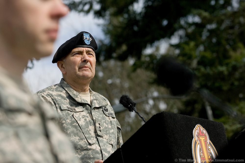 SEATTLE, WA - Lt. Gen. James Dubik, commander of Ft. Lewis and recently appointed to take charge of training Iraqi military and police forces, reviews the US Army's newest Stryker unit, the Fourth Brigade, Second Infantry, during their deployment ceremony at Fort Lewis Army Base near Seattle, Washington, on Monday, March 12, 2007.