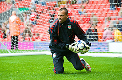 LIVERPOOL, ENGLAND - Saturday, September 26, 2009: Liverpool's goalkeeper Diego Cavalieri warms up before the Premiership match against Hull City at Anfield. (Photo by: David Rawcliffe/Propaganda)
