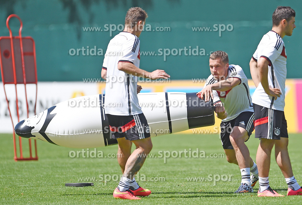 24.05.2014, Sportplatz, St. Martin Passeiertal, ITA, FIFA WM, Vorbereitung Deutschland, im Bild vl. Miroslav Klose (Lazio Rom), Lukas Podolski (FC Arsenal) und Kevin Volland (1899 Hoffenheim) // during Trainingscamp of Team Germany for Preparation of the FIFA Worldcup Brasil 2014 at the Sportplatz in St. Martin Passeiertal, Italy on 2014/05/24. EXPA Pictures &copy; 2014, PhotoCredit: EXPA/ Eibner-Pressefoto/ DFB-Pool<br /> <br /> *****ATTENTION - OUT of GER*****