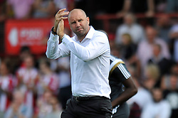 Charlton Athletic Manager, Bob Peeters applauds his supporters - Photo mandatory by-line: Patrick Khachfe/JMP - Mobile: 07966 386802 09/08/2014 - SPORT - FOOTBALL - Brentford - Griffin Park - Brentford v Charlton Athletic - Sky Bet Championship - First game of the season