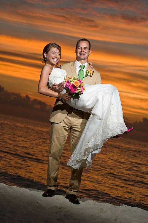 Romantic sunset wedding portraits by photographer Courtney Platt, Grand Cayman, Cayman Islands.