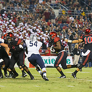 03 September 2016: The San Diego State Aztecs football team open's up the season at home against the University of New Hampshire Wildcats. San Diego State running  back Rashaad Penny (20) rushes the ball for a touchdown in the fourth quarter. The Aztecs beat the Wildcats 31-0. www.sdsuaztecphotos.com
