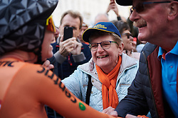 Annemiek van Vleuten's Mum joins in with the celebrations at UCI Road World Championships 2018 - Elite Women's ITT, a 27.7 km individual time trial in Innsbruck, Austria on September 25, 2018. Photo by Sean Robinson/velofocus.com