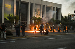 Pictured: <br /> Athenians took to the streets to protest next to the US embassy in Athens over the police killing of George Floyd in the USA, on June 3, 2020. - The United States has erupted into days and nights of protests, violence, and looting, following the death of George Floyd after he was detained and held down with a knee to his neck, dying shortly after.<br /> <br /> Dimitris Lampropoulos  | EEm 3 June 2020