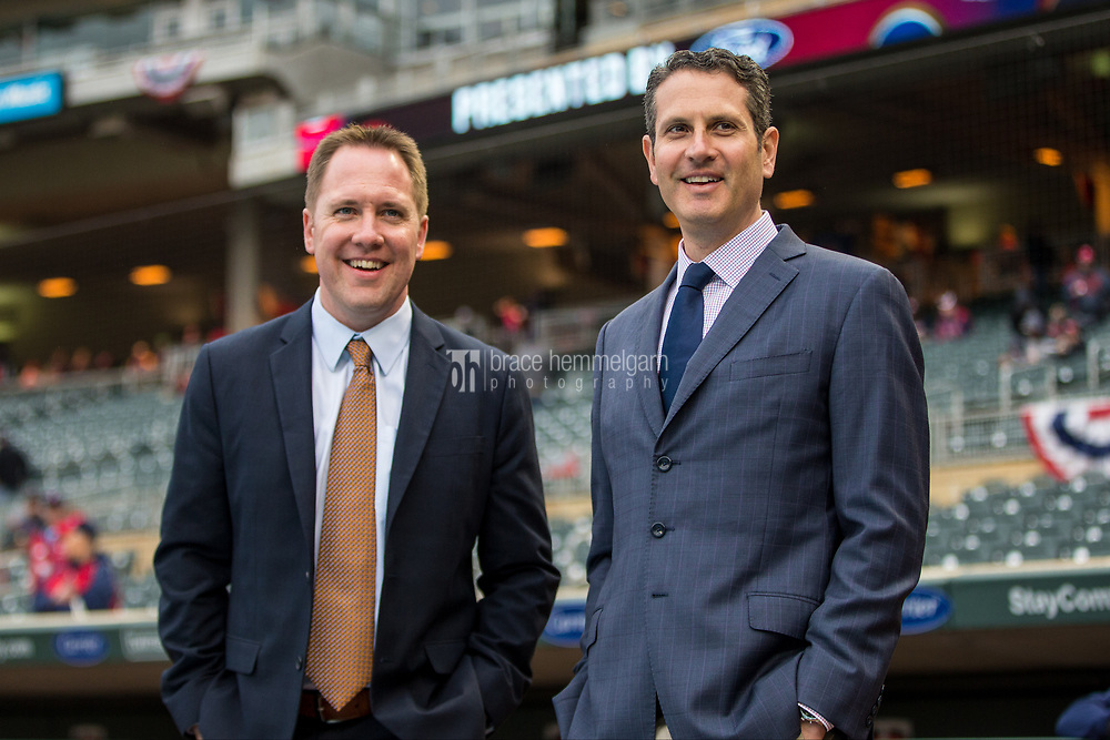 MINNEAPOLIS, MN- APRIL 3: Minnesota Twins chief baseball officer Derek Falvey and general manager Thad Levine prior to the game against the Kansas City Royals on April 3, 2017 at Target Field in Minneapolis, Minnesota. The Twins defeated the Royals 7-1. (Photo by Brace Hemmelgarn) *** Local Caption *** Derek Falvey;Thad Levine