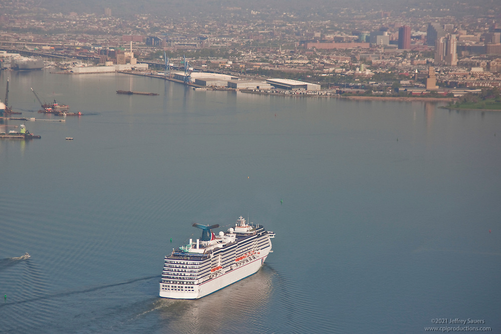 Aerial view of Carnival cruise line approaching the city of Baltimore