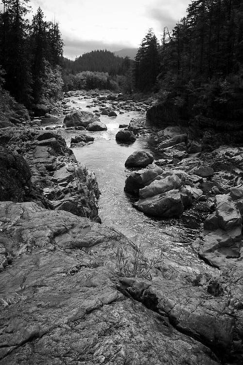 Black & white photo Kennedy River, Vancouver Island near Tofino BC