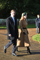 Edoardo Mapelli Mozzi and Princess Beatrice after attending the Christmas Day morning church service at St Mary Magdalene Church in Sandringham, Norfolk.