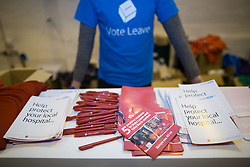 "© Licensed to London News Pictures . 15/04/2016 . Manchester , UK . Campaigning material saying the NHS will benefit from a Brexit . Boris Johnson speaks at a "" Vote Leave "" rally at Old Granada Studios , in Manchester . Photo credit: Joel Goodman/LNP"