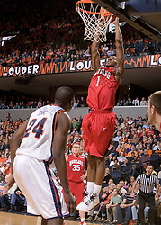 Maryland forward Landon Milbourne (1) goes up for a dunk against UVA.  The Virginia Cavaliers defeated the Maryland Terrapins 91-76 at the University of Virginia's John Paul Jones Arena  in Charlottesville, VA on March 9, 2008.