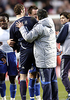 Photo: Olly Greenwood.<br />Charlton v Chelsea. The Barclays Premiership. 03/02/2007. Chelsea manager Jose Mourinho celebrates with Petr Cech and John Terry at the end of the game