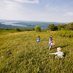 Kids picking blueberries on a hilltop in Alton, New Hampshire.