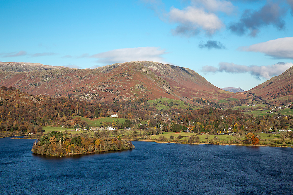 Looking down on Grasmere in the English Lake District on a bright sunny morning