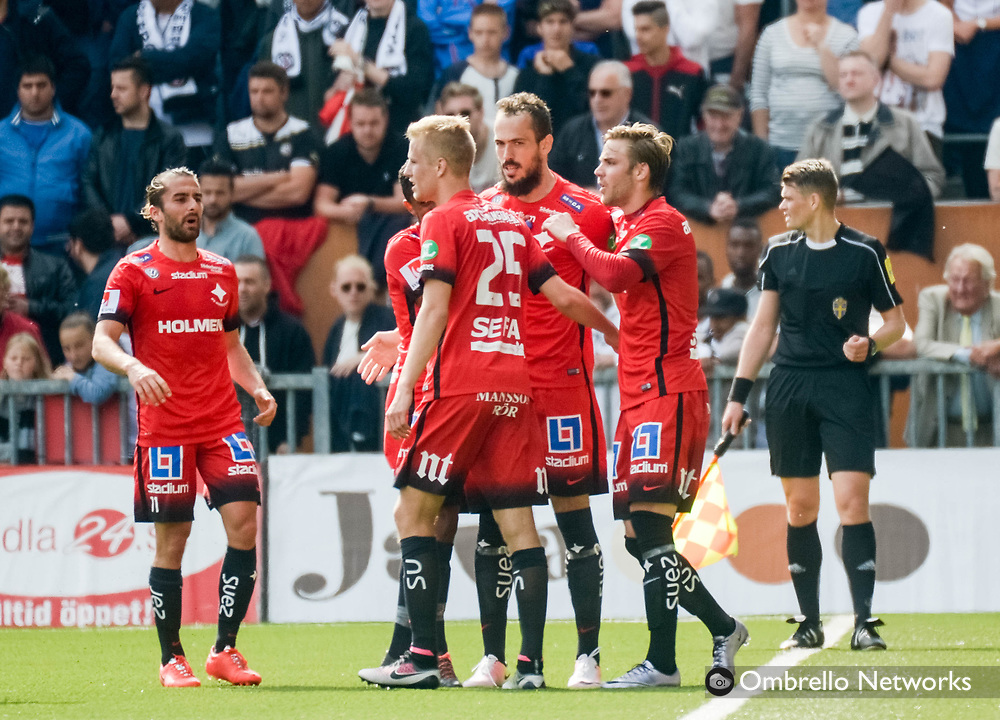 ÖREBRO, SWEDEN - MAY 22: Emir Kujovic of IFK Norrköping celebrates with teammates after scoring 1-2 during the allsvenskan match between Örebro SK and IFK Norrköping at Behrn Arena on May 22, 2016 in Örebro, Sweden. Foto: Pavel Koubek/Ombrello