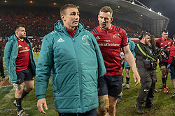 January 19, 2019 - Limerick, Ireland - Injured Tommy O'Donnell and Chris Farrell both of Munster celebrate during the Heineken Champions Cup match between Munster Rugby and Exeter Chiefs at Thomond Park in Limerick, Ireland on January 19, 2019  (Credit Image: © Andrew Surma/NurPhoto via ZUMA Press)