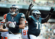 Philadelphia Eagles Ryan Mathews #24 and Jason Peters #71 celebrate a touchdown late in the fourth quarter against the Cleveland Browns Sunday, September 11, 2016 at Lincoln Financial Field in Philadelphia, Pennsylvania.  (Photo by William Thomas Cain)