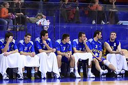 Team of KK Zagreb at NLB League ABA basketball match between KK Helios Domzale and KK Zagreb Croatia Osiguranje, on October 31, 2008, in Domzale, Slovenia.  (Photo by Vid Ponikvar / Sportida)