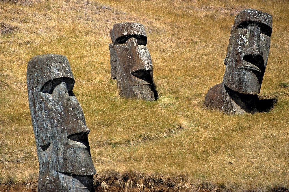 Statues of moai pose at Rano Raraku on Easter Island, a World Heritage Site.