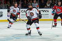 KELOWNA, BC - NOVEMBER 8: Teague Patton #39 of the Medicine Hat Tigers skates during his first WHL career game against the Kelowna Rockets  at Prospera Place on November 8, 2019 in Kelowna, Canada. (Photo by Marissa Baecker/Shoot the Breeze)