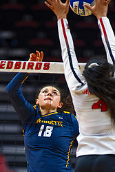 BLOOMINGTON, IL - September 15: Gwyn Jones battles with Kaylee Martin at the net during a college Women's volleyball match between the ISU Redbirds and the Marquette Golden Eagles on September 15 2019 at Illinois State University in Normal, IL. (Photo by Alan Look)