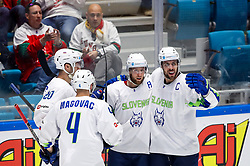 Players of Slovenia celebrate during ice hockey match between Belarus and Slovenia at IIHF World Championship DIV. I Group A Kazakhstan 2019, on May 2, 2019 in Barys Arena, Nur-Sultan, Kazakhstan. Photo by Matic Klansek Velej / Sportida