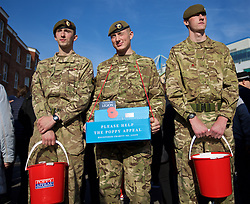 LONDON, ENGLAND - Saturday, October 31, 2015: People collection for the British Legion Poppy Appeal before the Premier League match against Liverpool at Stamford Bridge. (Pic by Lexie Lin/Propaganda)