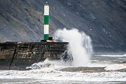 © Licensed to London News Pictures. 19/09/2018. Aberystwyth, UK. Stormy seas in Aberystwyth as Storm Ali, the first named storm of the UK winter season, gathers strength, bringing very high winds and heavy rain for north western parts of the UK. Photo credit: Keith Morris/LNP
