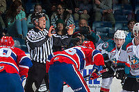 KELOWNA, CANADA - FEBRUARY 17: Linesman Dustin Minty calls for the face off between Kelowna Rockets and Spokane Chiefs on February 17, 2017 at Prospera Place in Kelowna, British Columbia, Canada.  (Photo by Marissa Baecker/Shoot the Breeze)  *** Local Caption ***