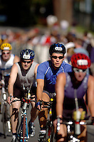 JEROME A. POLLOS/Press..Rodolfo Lauredo, of Miami, works his way through the pack of cyclists.