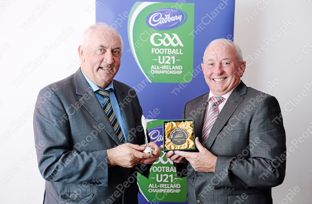 1 November 2013; Some of the greatest players ever to grace the games of hurling and football, as well as some of those who are charged with reporting their feats, were acknowledged at the 2013 Cadbury Gaelic Writers' Association Awards at Dublin's Louis Fitzgerald Hotel. Among the players inducted into the GWA Hall of Fame were Dublin legendary forward Barney Rock, Clare three time hurling Allstar custodian Seamus Durack and Down three time football Allstar, two time All-Ireland football winner and dual player Greg Blaney. Also honoured were Cavan PRO Declan Woods, Sports Editor of the Clare Champion Seamus Hayes and Evening Echo GAA correspondent John Horgan. Pictured with their awards are Seamus Hayes, left, Sports Editor, The Clare Champion and Seamus Durack. Cadbury Gaelic Writers Association Awards 2013, Louis Fitzgerald Hotel, Newlands Cross, Dublin. Picture credit: Brendan Moran / SPORTSFILE *** NO REPRODUCTION FEE ***